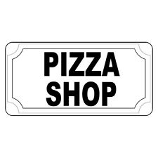 Pizza Shop Black Retro Vintage Style Metal Sign - 8 In X 12 In With Holes