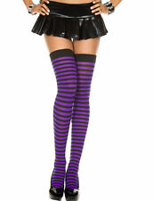 Opaque Thin Striped Thigh High Hi Stockings Long Socks Witch Halloween Costume
