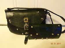 Genuine Leather Western Black & Green Shoulder Bag w/ Studs & Matching Wallet