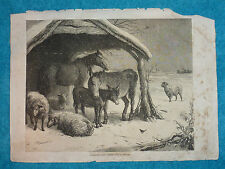 Large Original Victorian Newspaper Christmas Lithograph from Scrapbook (L)