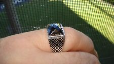 Lovely Princess Cut Black Gemstone Men's Ring In Sterling Silver Size 11.75