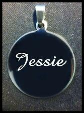 Personalised Custom Name Phone ID Free Engraved Circle Dog Cat Puppy Pet Tags