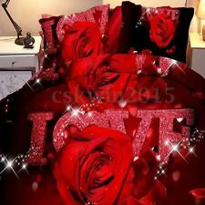 4Pcs 3D Red Rose Flower Twin King Size Quilt Sheets Pillow Case Bedding Cover