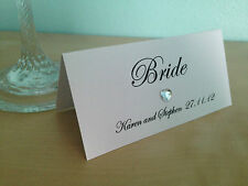 50 Personalised Heart/Flower Diamante Wedding Place Cards (Selection of colours)