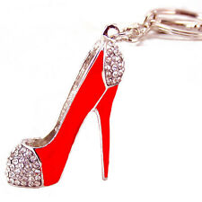 Crystal High heels shaped keychain,rhinestone women shoe keychain,red color