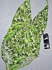 It Figures ! one piece green leaf print halter style slimming Swimsuit size 10