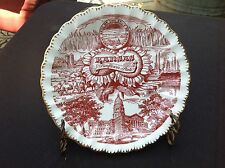 VINTAGE KANSAS SUNFLOWER STATE PLATE WITH GOLD TRIM