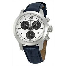 Tissot PRC200 Chronograph White Dial  Black Leather Mens Watch T0552171603800