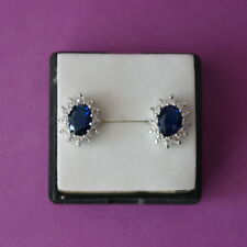 Nice 14 KT Gold Over Earrings With Sapphire And Topaz Gems 1.5 x 1.1 Cm. Wide