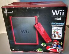 Nintendo Wii Mini Red Console Mario Kart Bundle Brand New