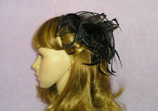 Sexy Black Organza & Feather Fascinator Hair Comb Prom Wedding Burlesque