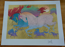 """Azoulay """"Les Champions"""" Serigraph on White Paper with Gold Leafing + REMARQUE!"""