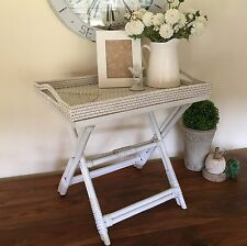 White Rattan Butlers Tray Table/Side Table/Bedaside Table/Hampton's/Coastal