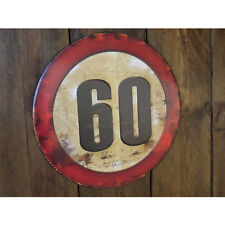 60 MPH limit embossed sign vintage style metal sign notice