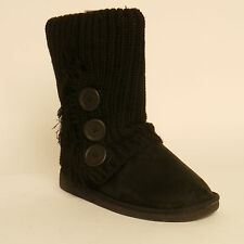 Pineapple Smooch Slouch Boots Black Faux Suede Knitted Size 4 New £18.99