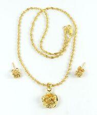 Women's 10 Carat Gold Filled Flower Necklace Pendant Earring Jewellery Set