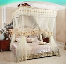 BED CANOPY Set Curtain/Net/Frame included Light Beige for Queen/Full Size Beds