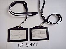2X-ID Card Holder Horizonal strap Lanyard Genuine Leather for Retractable Badge