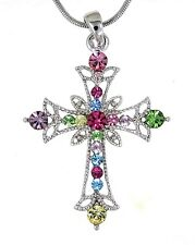 Multicolor Cross Austrian Crystal Pendant Sterling Silver .925 Chain Necklace 18