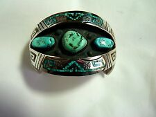 GENUINE TOMMY SINGER CHIP INLAY  CUFF OLD SIGNATURE  STERLING  NEW OLD STOCK