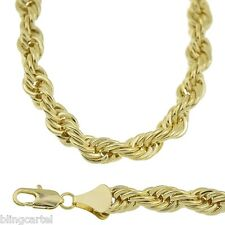 "36"" Rope Chain 9 mm Gold Plated Twisted Long Heavy Big Dookie Hip Hop Necklace"