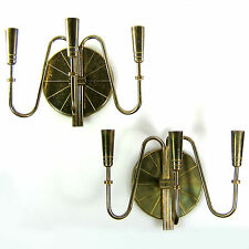 SEDUCTIVE MID CENTURY PAIR OF TOMMI PARZINGER BRASS WALL SCONCES