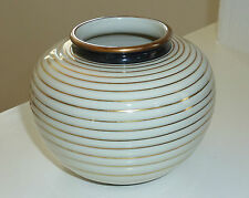 Chic Suisse Langenthal Cream Gold Striped & Black Edging Art Deco Pottery Vase