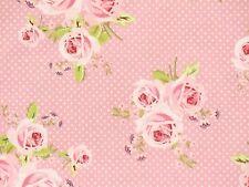 Rosenstoffe Romantik Landhaus Rose Pink Rosa Pastell Baumwollstoff Öko Tex 100