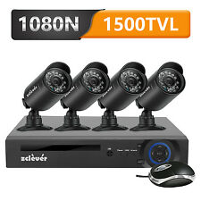 Zclever 1080N HD DVR 4* 1500TVL Home Surveillance Security Camera System No HDD