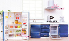 1:12 Dollhouse Miniature Toy Kitchen Furniture Blue Stove/Oven/Frige+Food