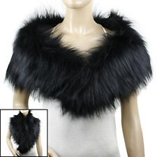 FAUX FUR SHAWL WRAP COLLAR WINTER SCARF BLACK #LSF217