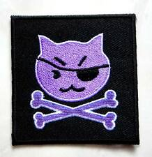 Cute Pretty Purple Cat Pirate Crossbones Embroidered Iron on Patch Free Postage