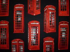OFFCUT LONDON UK BRITISH RED TELEPHONE BOXES FABRIC RETRO KITSCH PATRIOTIC