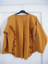 NWOT mustard/gold frill front 100% weighty cotton boho blouse TOP SHOP size 12