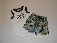 """NWT Gymboree Outfit Shirt and Shorts """"I'm in Charge"""" Boy Size 0-3 Months NEW"""