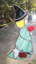 Handmade Stained Glass Witch Suncatcher Little Girl Ghost Pumpkin Fall Halloween