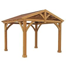 Pre-Stained Premium Cedar Wood & Metal 12' x 10.5' Outdoor Pavillion Gazebo