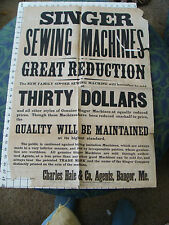 1877 Original large SINGER SEWING MACHINE BROADSIDE sale notice POSTER wow