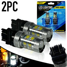 2x Amber/White Switchback LED Turn Signal Bulb Cree 100W 3157 4157NA 3155 4057
