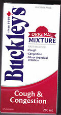 BUCKLEY'S ORIGINAL MIXTURE COUGH & CONGESTION SYRUP 200 ML CANADA'S OWN!!