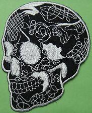 Ecusson patch tête de mort Mexicaine skull crâne noir et blanc