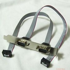 2in1 2-port DB9 RS232 9pin 9p Com Port Serial Cable host case rear Bracket New