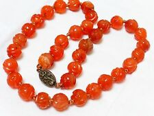 CHINESE ANTIQUE NATURAL Carved Shu CARNELIAN BEAD NECKLACE SILVER CLASP