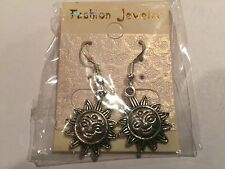 Cute New Sterling Silver Hook w/Tibetan Silver Sun Charm Dangle Drop Earrings