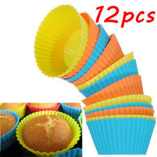 New Baking 12pcs Silicone Round Muffin Chocolate Cupcake Liner Cup Molds Color