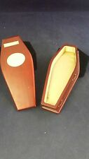 *Dollhouse miniature coffin-1:12 scale-mahogany/casket-funeral parlor-goth-satin