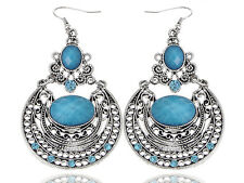 Lady Egypt Pattern Etched Silver-tone Turquoise Earrings Fashion