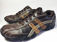 SKECHERS Mens Relaxed Step Brown Leather Casual Walking Shoes Sneakers Size