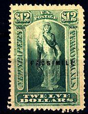 """USA - STATI UNITI - 1875 - FAC-SIMILE marca per giornali. """"VESTA"""", 12 $ bluverde"""