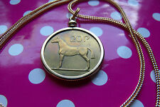 "1986  IRISH PONY HORSE COIN PENDANT on a 28"" Gold Filled Foxtail Snake Chain"